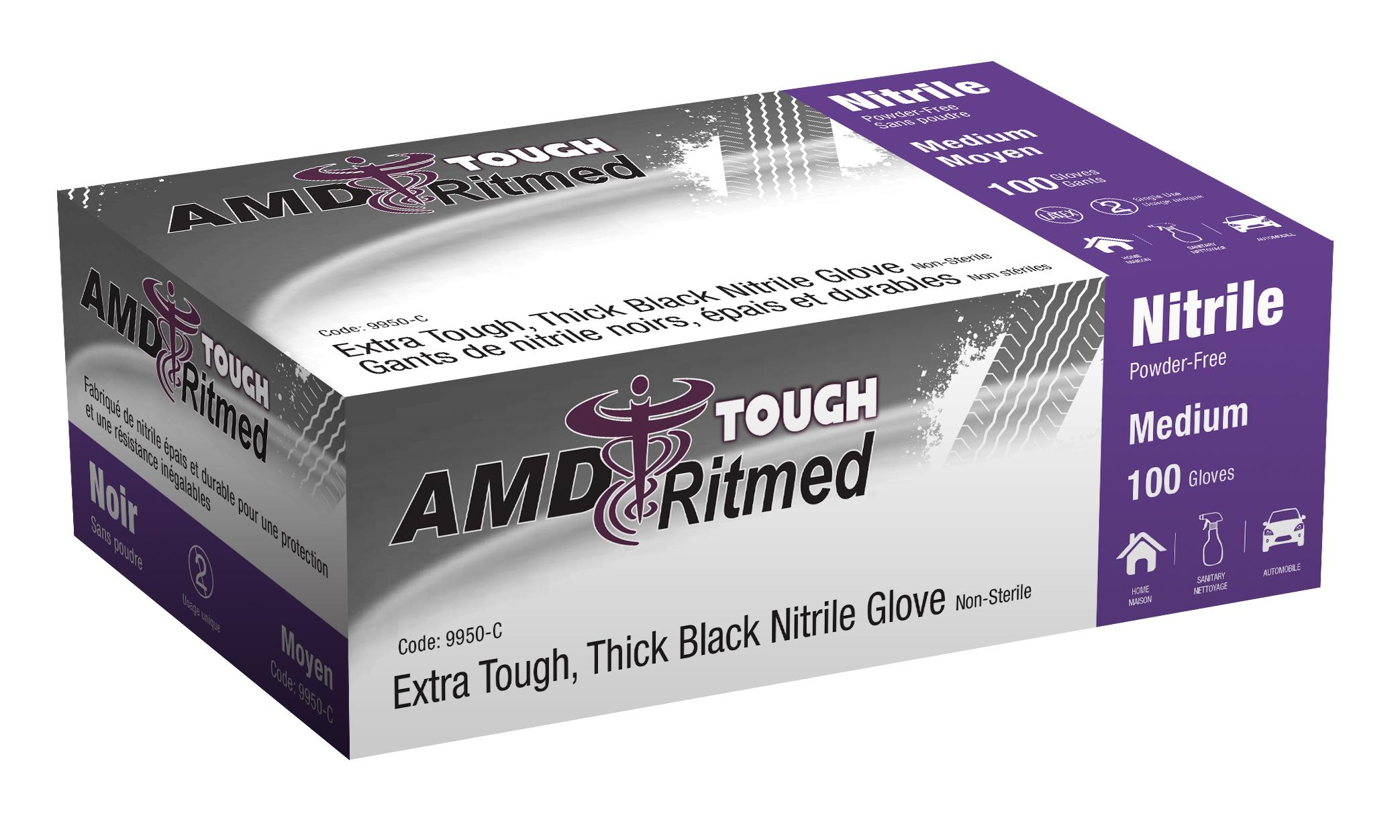 Black latex gloves xl - Extra Tough Black Nitrile Glove 6 7 Mil Thick Size Large